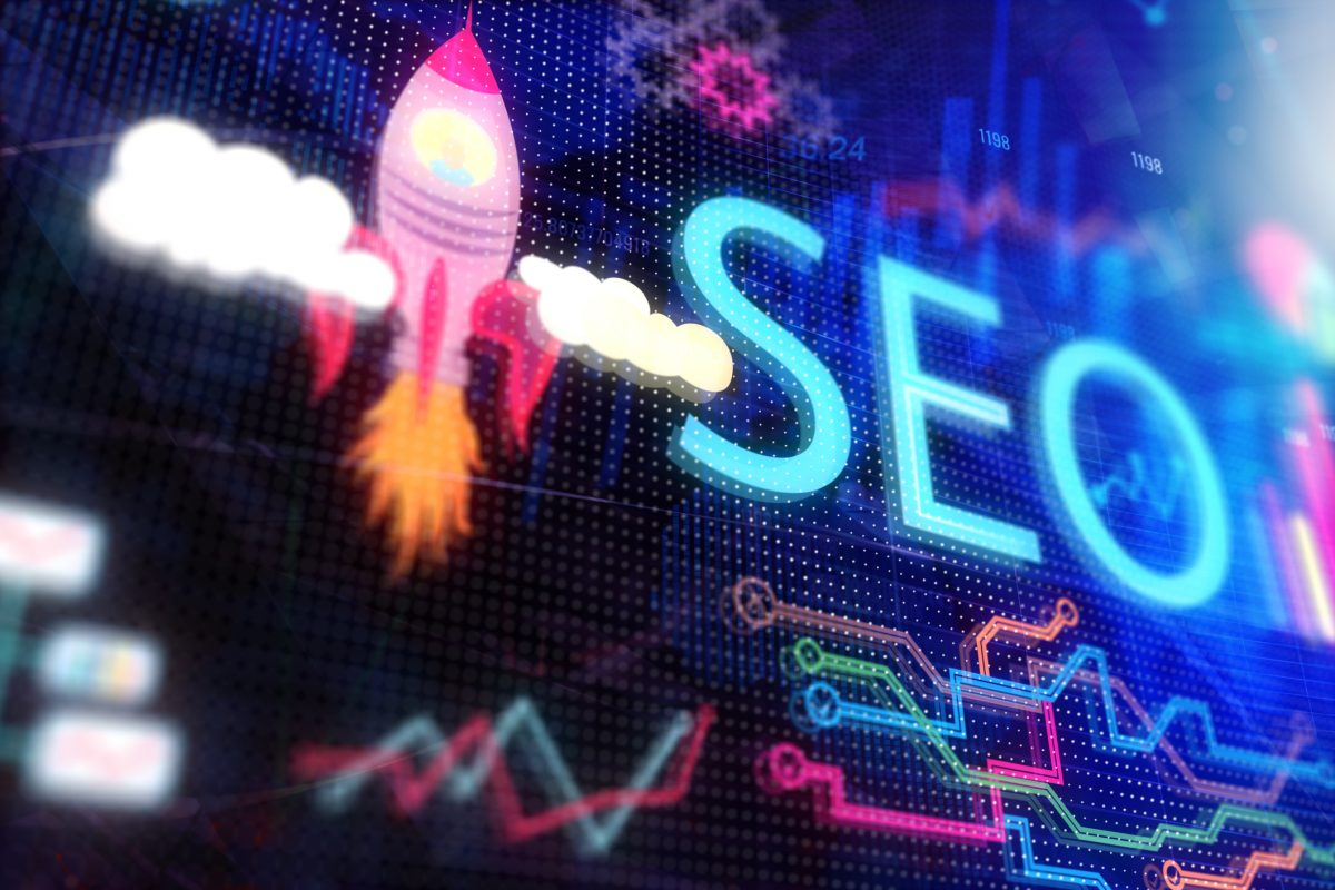 SEO Myth - Creative SEO backdrop. Search engine optimization and startup concept. 3D Rendering