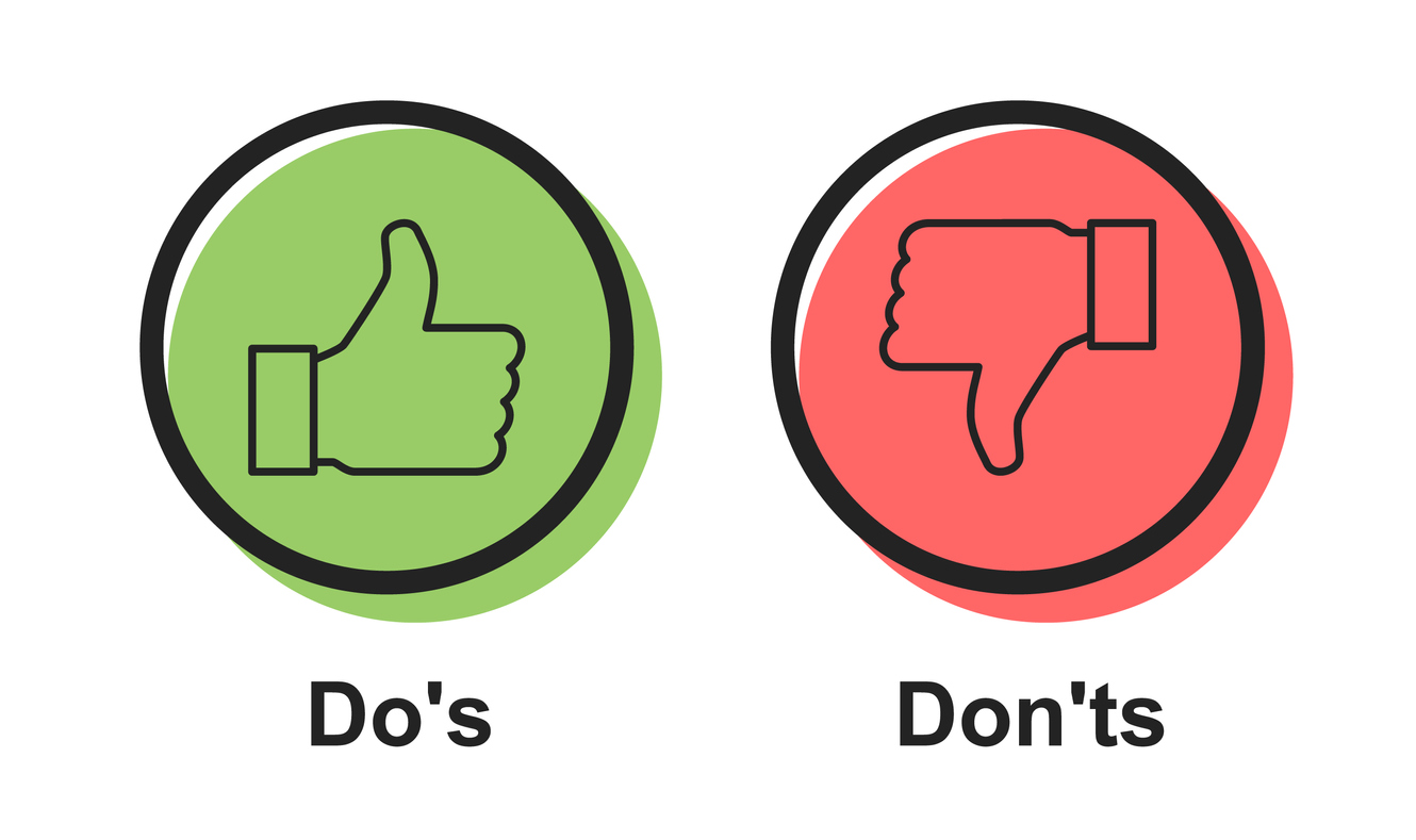 dos and dons of repurposing content - Speech icon vector bubble Dos and Don'ts or like/unlike symbols, flat simple logotype graphic design