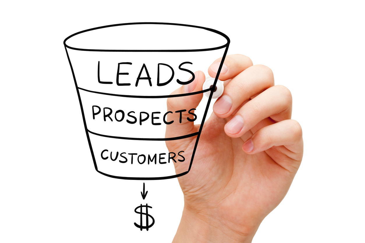 Hand drawing sales funnel business concept with black marker on transparent glass board. nurture leads a concept.