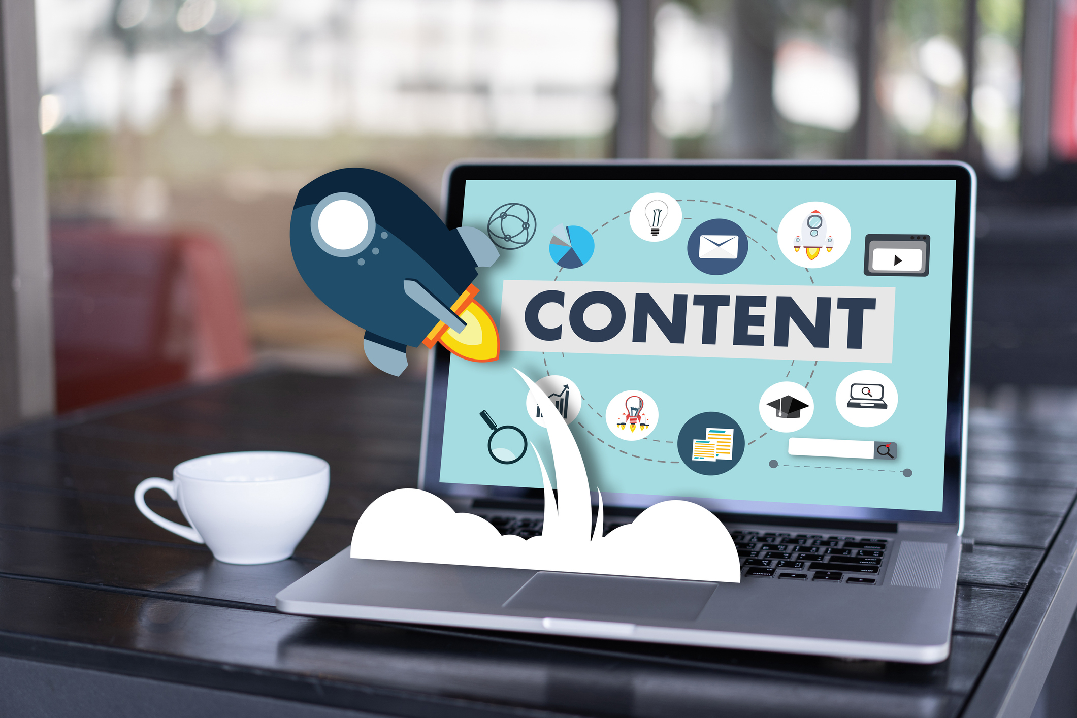 content marketing Content Data Blogging Media Publication Information Vision Concept representing content marketing for seo